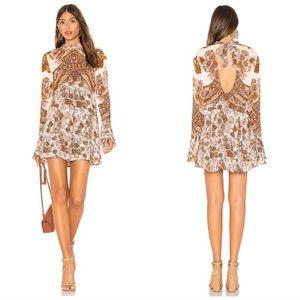 Free People print long sleeve dress size L NWT